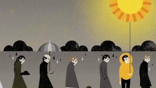 Mann mit Sonne umgeben von grauen Menschen unter Regenwolken