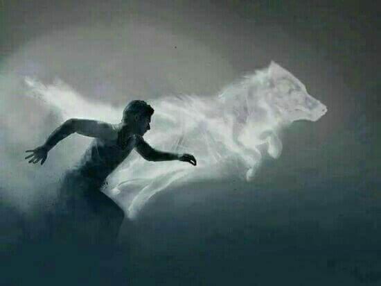 Ein Mann rennt mit einem Wolf.