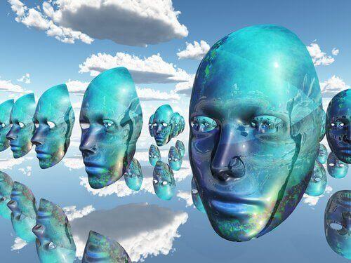 Masken am Himmel als Symbol für affektive Labilität