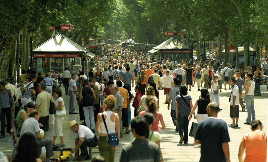 Menschenmenge auf der Rambla in Barcelona