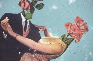 Beziehung angeschlagen - Ein tanzendes Paar hat statt eines Kopfes Blüten.
