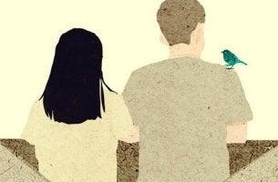 Meinung ändern - Paar mit Vogel auf der Schulter des Mannes