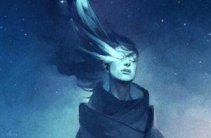 das persönliche Wachstum einschränken - blaue Frau vor blauem Himmel