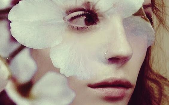 Das Gesicht einer Frau umgeben von Blütenblättern