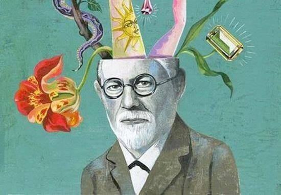 Zeichnung von Freud, in dessen Kopf unterschiedlichste Objekte liegen