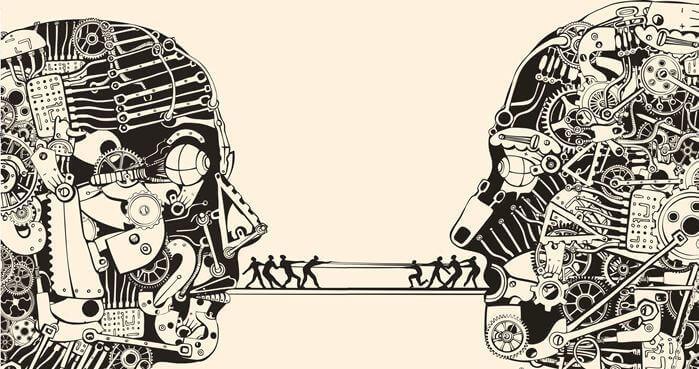 Zwei stilisierte Köpfe, die Kommunikation symbolisieren