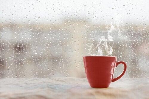 Eine Tasse Kaffe steht auf dem Fenstersims. Das Wetter ist regnerisch.