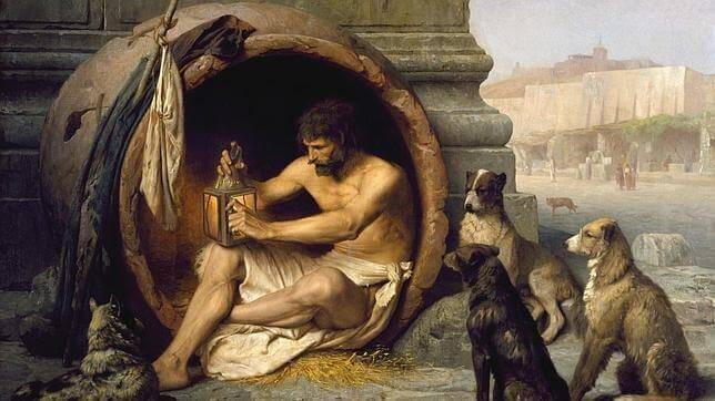 Diogenes in einem Fass