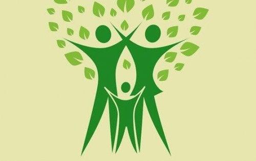 Zeichnung dreier grüner Figuren, wobei zwei Erwachsene und ein Kind dargstellt werden