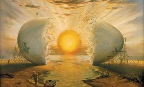 Ein surreales Bild, dass einen Sonnenaufgang zeigt, der durch ein aufgeschlagenes Ei dargestellt ist.