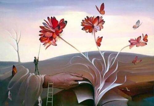 Ein geöffnetes Buch, aus dem sich Blumen emporranken