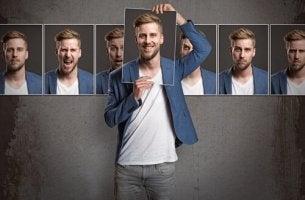 Persönlichkeit verändern - Ein Mann und mehrere Fotos, die in in unterschiedlicher Stimmung zeigen