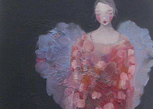 Ein Gemälde einer verzweifelten und traurigen Frau
