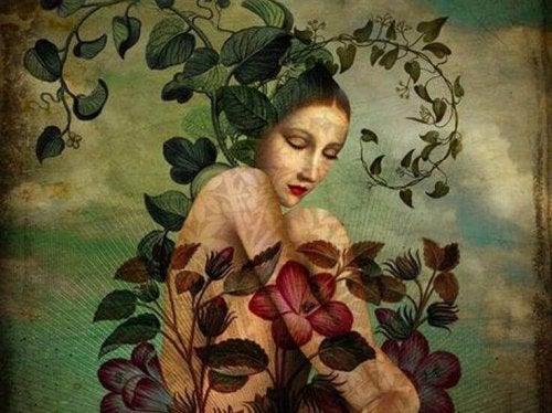 Zeichnung einer traurigen Frau, die von Blumen und Pflanzen überwuchert wird und versucht, sich vom Schmerz zu lösen.