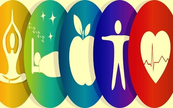 Figuren, die Wellness darstellen