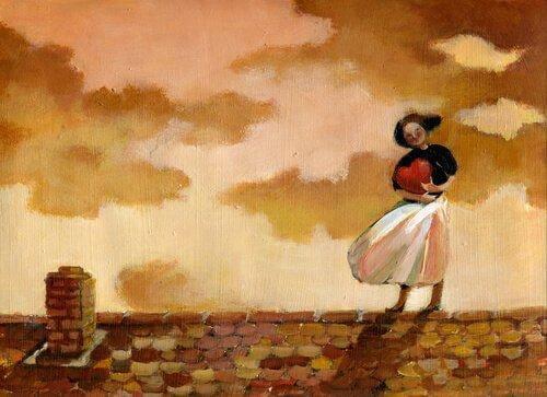 Zeichnung einer jungen Frau, die ein Herz umarmt, während sie auf einem Dach steht.