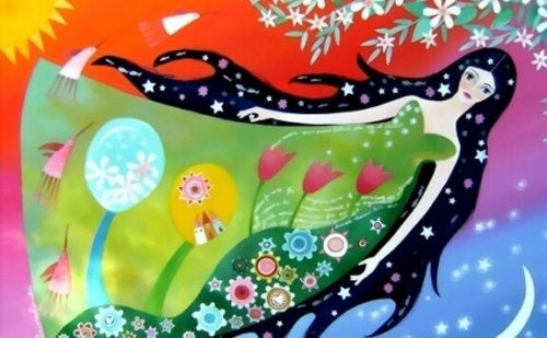 Leben mit Sinn - eine Zeichnung einer Frau im Blumenkleid