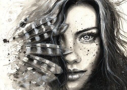Mit einem Blick umarmen - eine Zeichnung einer Frau, deren Gesicht mit Federn bedeckt ist