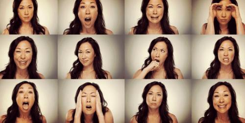 Fotos einer Frau mit vielen verschiedenen Emotionen