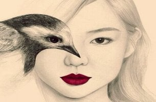 Eine Zeichnung eines weiblichen Gesichts und eine Seite ist mit einem Vogel verdeckt