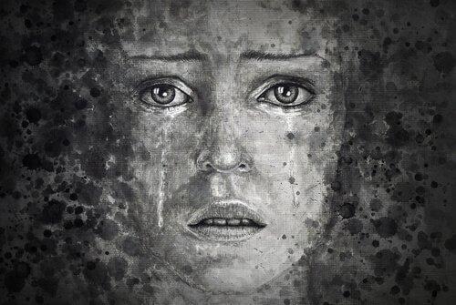Zeichnung vom Gesicht einer Frau ohne Schutzpanzer, der Tränen über die Wangen rinnen