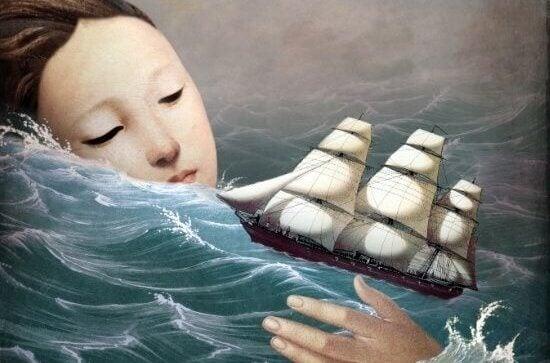 Ein Frauenkopf ragt aus dem stürmischen Ozean heraus und ein Schiff fährt auf den Wellen.