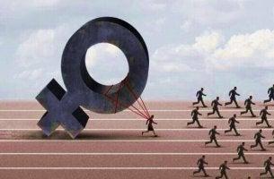 Männlicher Chauvinismus - Eine Frau ist in einem Rennen mit Männern durch ihr symbolisches Geschlecht belastet.