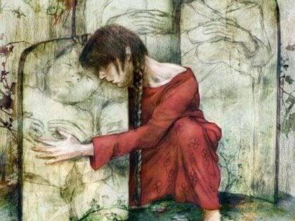 Eine Zeichnung einer Frau, die den Grabstein eines Kindes umarmt