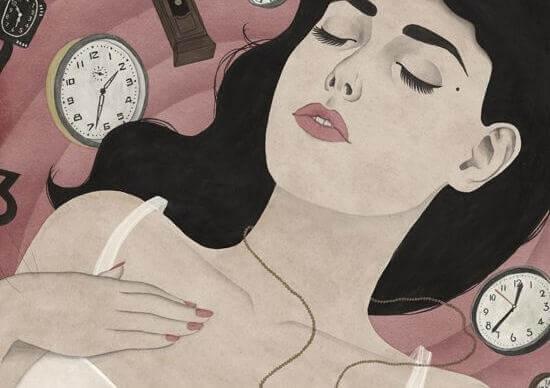 Schlafende Frau umgeben von Uhren