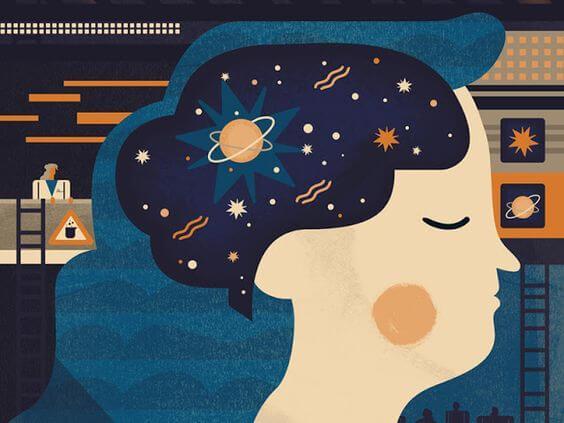 Frau im Profil mit einem gezeichneten Universum im Kopf