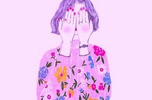 Jedem gefallen wollen - Frau versteckt sich hinter ihren Händen