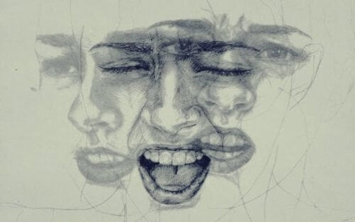 Zeichnung eines Gesichts, das unterschiedliche Emotionen zeigt.