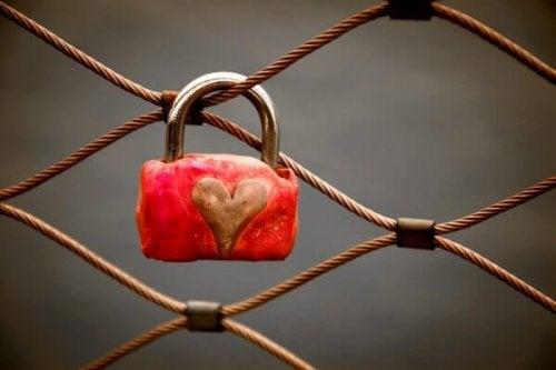 Herzschloss hängt an Zaun.