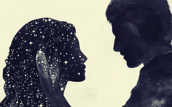 Profil eines Paares, das sich ansieht