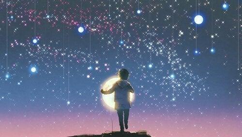 Eine Junge, der losgeht, um den Mond aufzuhängen