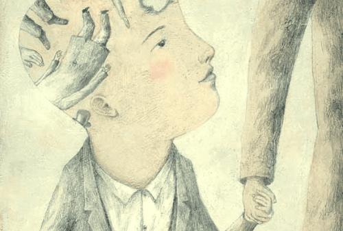 Eine Zeichnung eines Jungens, auf dessen Kopfhaut weitere Zeichnungen zu sehen sind.
