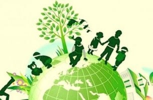 Kinder auf einem grünen Erdball