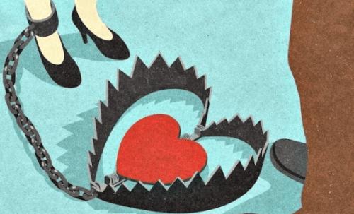 Beziehungssucht - Bärenfalle mit Herz steht auf dem Boden.