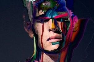 Männliches Gesicht mit Farbe als Symbol für Machiavellisten