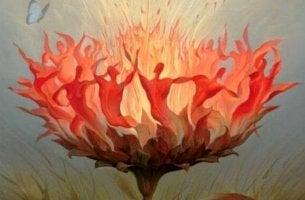 Menschen tanzen in einer Sonnenblume