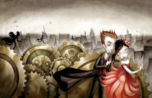 Ein Paar tanzt vor Zahnrädern und einer grauen Stadt.