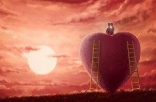 Illustration eines Paares auf einem Herzen
