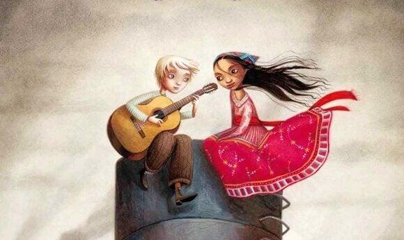 Ein Junge singt für ein Mädchen.