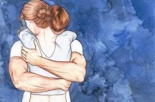 Partner als Schutzpanzer - Zeichnung eines Paars, das sich innig umarmt