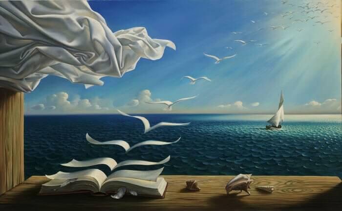 Buchseiten fliegen als Vögel davon
