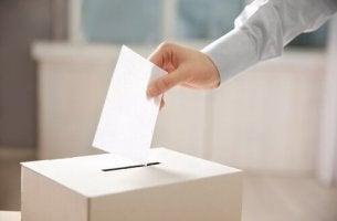 Wahlverhalten - Eine Person steckt seinen Wahlzettel in eine Wahlurne.