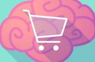 Einkaufen - pinkes Gehirn mit einem Einkausfwagen in der Mitte