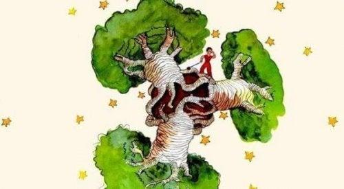 Affenbrotbaum im Herzen - der kleine Prinz auf einem Affenbrotbaum