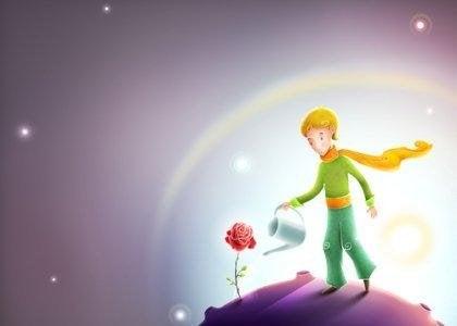 Der kleine Prinz wässert eine Rose