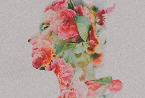 Ein Profil eines Menschens, das aus Rosen besteht
